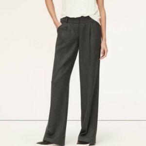 LOFT Wool Twill Pleated Wide Leg Trousers 12